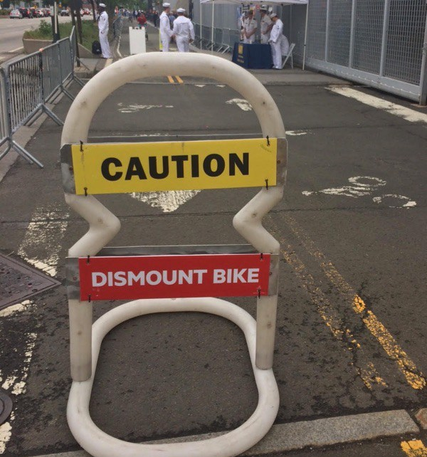 In recent years, Hudson River Greenway users have been forced to dismount their bikes during Fleet Week. But That may change.